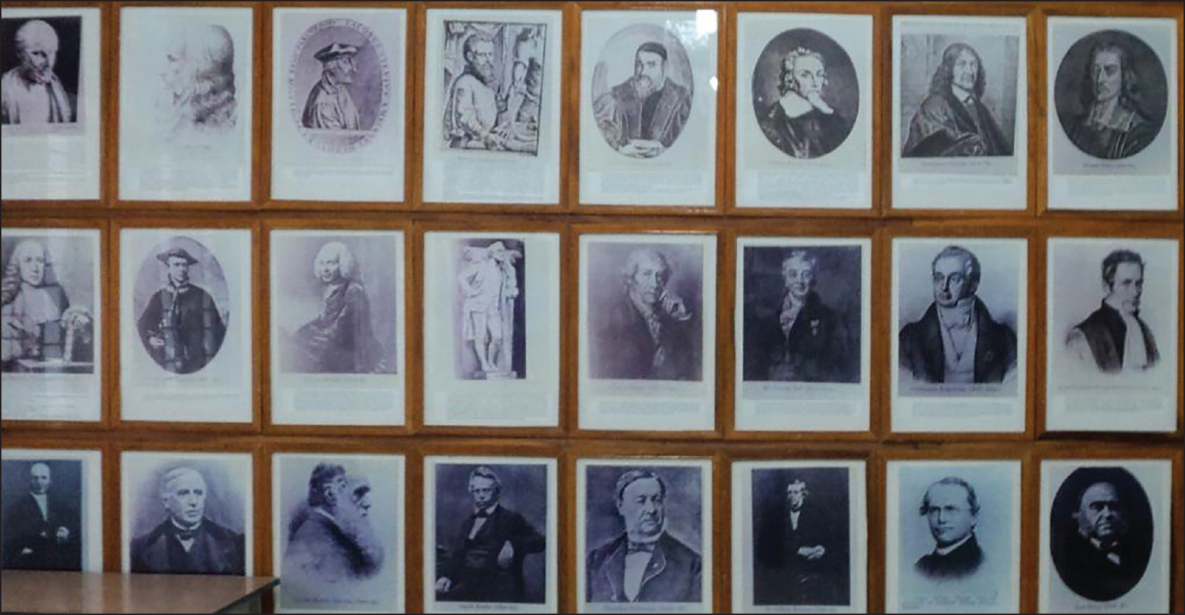 Figure 1: Portraits of eminent anatomists. Courtesy Sri Devaraj Urs Medical College Anatomy Museum, Kolar