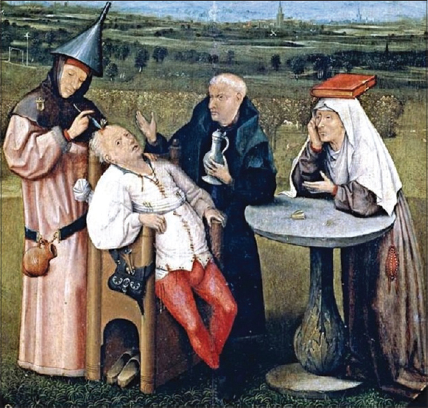 Figure 2: The Extraction of The Stone of Madness by Hieronymus Bosch. Museo del Prado,Madrid, Spain (Source: Faria MA Jr. Violence, mental illness, and the brain - A brief history of psychosurgery: Part 1 - From trephination to lobotomy. SurgNeurol Int 2013;4:49)