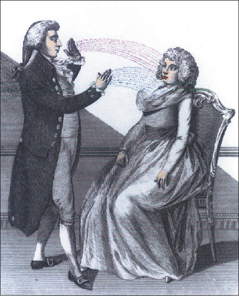 Figure 1: Franz Anton Mesmer performing mesmerism. Wikimedia Commons